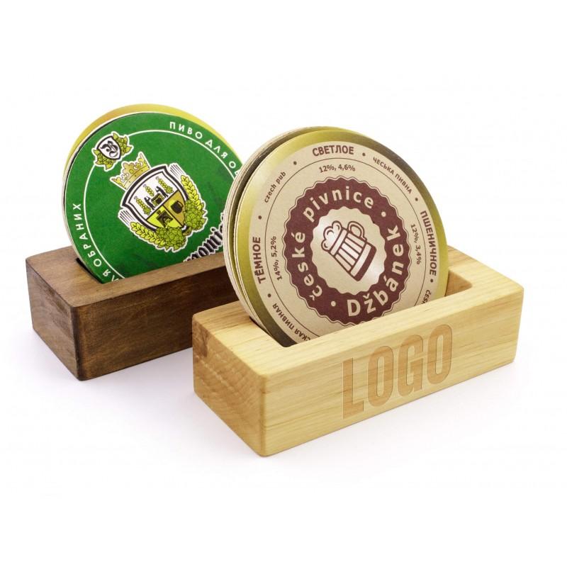 Wooden beermat holder